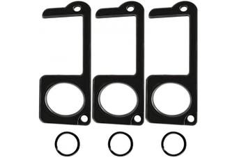 (3, Black) - 3PCS NEW Door Opener Tool No Touch AnSaw Handheld Zinc alloy EDC Keychain Tool, Non-Contact Key Door Opener & Closer Contactless Safety Door Opener (3, black)