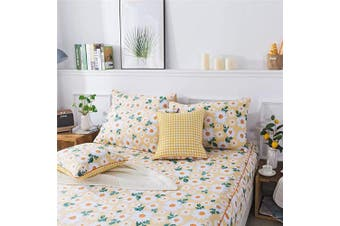(Twin XL, Yellow) - FADFAY Sheet Set Twin XL Elegant Daisy Floral Bedding Yellow and White Sunflower Bed Sheet Set 100% Cotton Super Soft Hypoallergenic Deep Pocket Fitted Sheet 4PCS Twin Extra Long Size for Dorm Room