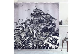 (210cm  Long Extra, Blue) - Ambesonne Nautical Shower Curtain, Kraken Octopus Tentacles with Ship Sail Boat in Ocean Waves, Cloth Fabric Bathroom Decor Set with Hooks, 210cm Long Extra, Blue