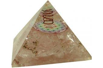 (BLACK GIFT POUCH, Design#28 (Rose Quartz)) - harmonise Rose Quartz Orgone Pyramid EMF Protection Energy Generator with Flower of Life Symbol Meditation Yoga Reiki Healing Crystal Gifts for Her