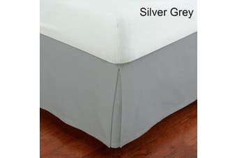 (Queen, Grey) - Mk Collection Solid Pleated Queen Bed Skirt 36cm Drop Silver/Grey New