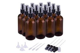 (100ml x 12, Black Amber) - Small Glass Spray Bottles for Essential Oils, Fine Mist Amber Spray Bottles (100ml, Set of 12)