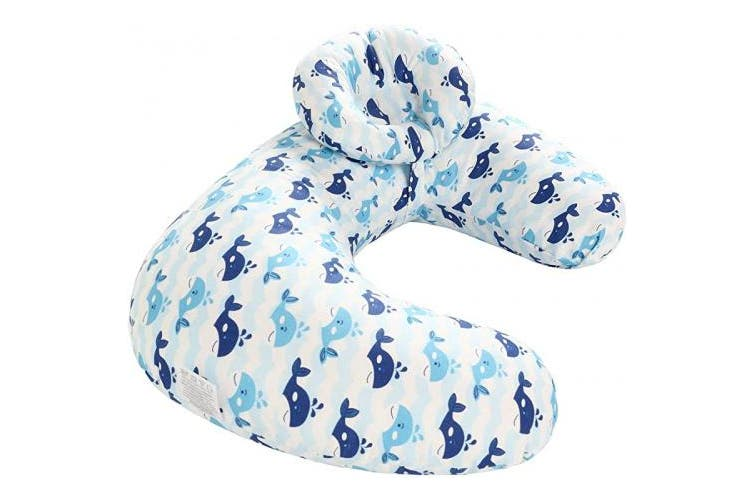 (blue whale) - TEALP Nursing Pillow Blue Whale, Breastfeeding Pillow with a Detachable Headrest Baby Head Support 100% Cotton Pillowcase Removable