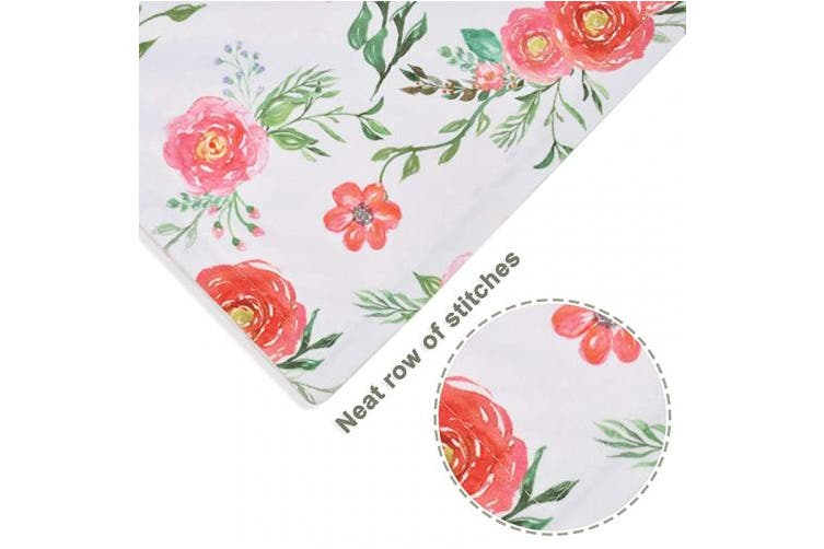 HOMRITAR Baby Blanket for Girls Super Soft Double Layer Minky with Dotted Backing, Receiving Blanket with Pink Floral Multicolor Printed Blanket 30 x 40 Inch(75x100cm)