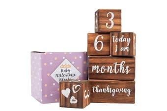(Dark Brown) - Baby Monthly Milestone Blocks - 6 Blocks, The Most Complete Set, Baby Photography Props for Social Media, Rustic Baby Nursery Decor (Dark Brown)