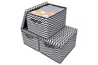 (Extra Large, Dark Gray/Ivory) - GRANNY SAYS Storage Bin with Lid, Kid's Storage Box Organiser, Toy Storage Basket Nursery Storage Containers with Lids, Dark Grey and White, Extra Large, 3-Pack