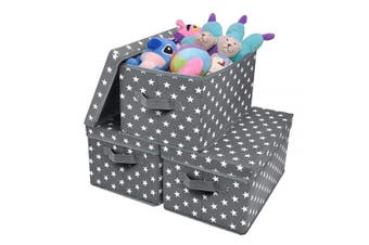 (Large, Dark Gray/White) - GRANNY SAYS Storage Bin with Lid, Kid's Storage Box, Toy Storage Basket Nursery Storage Containers with Lids, Cute Star Pattern, Dark Grey, 3-Pack