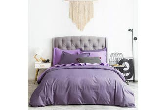 (Twin, Lilac) - SUSYBAO 2 Pieces Duvet Cover Set 100% Natural Cotton Twin/Single Size Solid Lilac Purple Bedding Set with Zipper Ties 1 Duvet Cover 1 Pillow Shams Hotel Quality Super Soft Comfortable Lightweight