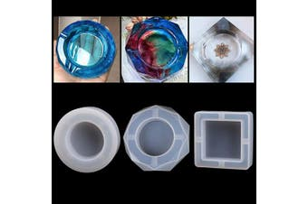 Amapower 3PCS Ashtray Silicone Mould Kit, Transparent DIY Resin Kit for Beginners,Silicone Crystal Jewellery Mould Set,Epoxy Resin Kits