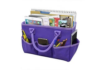 Godery Desktop File Folder Tote and Stock Organise, Fundamentals Art Organiser Storage Craft Tote Bag for Office Desk Organise, Make-up Storage Tote with Handles for Travel or Daily Use, Purple Edge