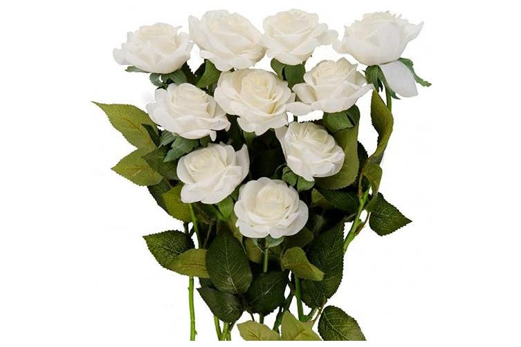 (White) - U/N Artificial Moist Silk Rose Flower Single Stem 10 PCS Fake Rose Flowers Bouquet Wedding Party Home Decor (White)