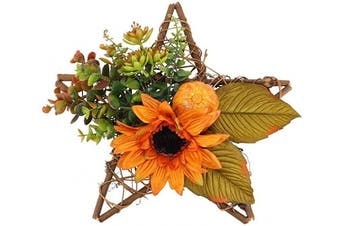 AILANDA Silk Floral Wreaths Artificial Sunflower Wreath Faux Flowers Decor Star Shape Floral Wreath for Front Door Window Bedroom Birthday Balcony Wedding Arrangement