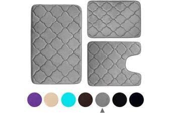(Grey) - Buganda 3 Piece Memory Foam Bath Rugs Set - Extra Soft Velvet Non Slip Absorbent Bath Mats, Small Large Bathroom Rugs and Contour Mat, Grey