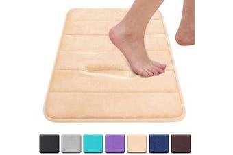 "(17""x24""/43x61 cm, Beige) - Colorxy Memory Foam Bath Mat - Soft & Absorbent Bathroom Rugs Non Slip Large Bath Rug Runner for Kitchen Bathroom Floors 43cm x 60cm , Beige"