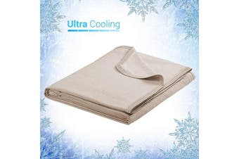 (150cm  X 200cm , Beige) - Elegear Revolutionary Cooling Blanket Absorbs Heat to Keep Adults, Children, Babies Cool on Warm Nights, Japanese Q-Max 0.4 Cooling Fibre, 100% Cotton Backing, Summer Blanket for Night Sweats