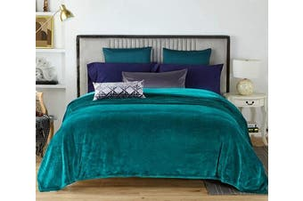 (Twin(150cm  x 200cm ), Teal) - NC Flannel Fleece Blanket, Twin Soft Warm Fluffy Plush Blanket, Lightweight Microfiber Blankets for Bed Couch Chair Living Room(Twin, Teal)