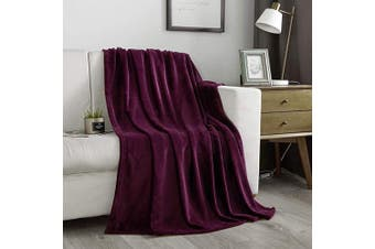 (Throw(130cm  x 150cm ), Purple) - NC Flannel Fleece Blanket, Throw Soft Warm Fluffy Plush Blanket, Lightweight Microfiber Blankets for Bed Couch Chair Living Room(Throw, Purple)