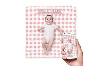 (Pink) - TopHat Double Sided Baby Muslin Blankets for Boys or Girls (120cm x 120cm ) Includes Baby Milestone Accessories (Yearly, Weekly, Monthly) and Matching Baby Bib - Available in Blue or Pink (Pink)