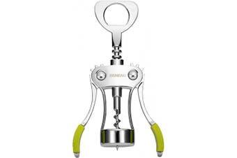 (Green) - Wine Opener, Zinc Alloy Premium Wing Corkscrew Wine Bottle Opener with Multifunctional Bottles Opener, Upgrade - Green