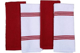 (41cm  x 70cm , Red) - AMOUR INFINI Terry Dish Towel | Set of 4 | 41cm x 70cm | Super Soft and Absorbent |100% Cotton Dishtowels | Perfect for Household and Commercial Uses | Red
