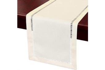 (14x36, Cream) - Grelucgo Small Short Handcrafted Solid Colour Dining Table Runner, Dresser Scarf, Double-Hemstitched (Cream, 14 x 36)