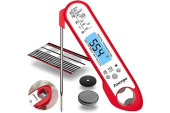 (Red/White) - Juseepo Waterproof Digital Instant Read Meat Thermometer - Ultra Fast Thermometer with Backlight & Calibration for Kitchen, Outdoor Cooking, Grill BBQ, and Liquids (Red and white)