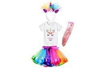 (6-7 Years, Rainbow) - Girls Layered Tutu Skirt with Unicorn TShirt, Headband & Satin Sash (Rainbow, 6-7 Years)