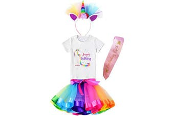 (7-8 Years, Rainbow Unicorn Happy Birthday) - Girls Layered Tutu Skirt with Unicorn TShirt, Headband & Satin Sash (Rainbow Unicorn Happy Birthday, 7-8 Years)