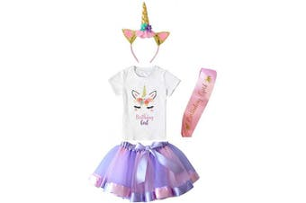 (6-7 Years, Purple) - Girls Layered Tutu Skirt with Unicorn TShirt, Headband & Satin Sash (Purple, 6-7 Years)