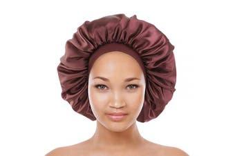(Coffee) - Satin Bonnet Silk Curly Natural Long Hair Sleep Cap Women Night Large Oversized(Coffee)