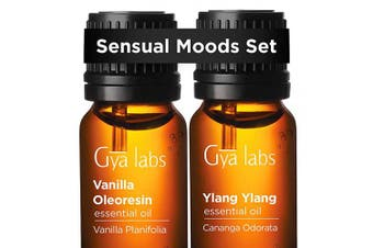 Vanilla Oil & Ylang Ylang Oil - Gya Labs Sensual Moods Set for Sweet Romance & Comfort - 100% Pure Therapeutic Grade Essential Oils Set for Intimacy & Undivided Attention - 2x10ml