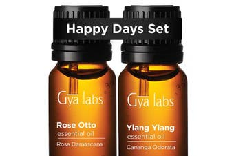 Rose Otto Oil & Ylang Ylang Oil - Gya Labs Happy Days Set for Relaxation & Skin Care - 100% Pure Therapeutic Grade Essential Oils Set to Boost Positivity & Moisturise Dry Skin - 2x10ml