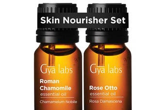 Roman Chamomile Oil & Rose Otto Oil - Gya Labs Skin Nourisher Set for Skin Care & Stress Relief - 100% Pure Therapeutic Grade Essential Oils Set to Soothe Dry, Sensitive Skin & Uplift Mood - 2x10ml