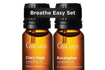 Clary Sage Oil & Eucalyptus Oil - Gya Labs Breathe Easy Set for Relaxation, Sinus Relief & Congestion Relief - 100% Pure Therapeutic Grade Essential Oils Set to Improve Breathing & Sleep - 2x10ml