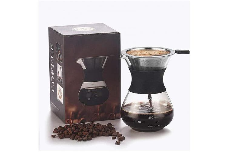 Pour Over Coffee Maker Paperless Reusable Stainless Steel Filter And Bpa Free Glass Carafe Hand Coffee Dripper Brewer Pot Set 300ml 10 5oz Kogan Com