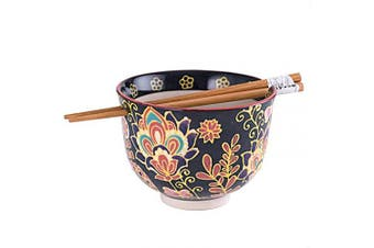 Quality Japanese Ramen Udon Noodle Bowl with Chopsticks Gift Set 13cm Diameter (Batik)