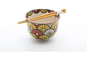 Quality Japanese Ramen Udon Noodle Bowl with Chopsticks Gift Set 13cm Diameter (Chrysanthemum)