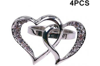 BJ Decor Napkin Rings Set of 4, Silver Double Heart Napkin Rings Napkin Holders for Wedding Banquet Dinner Decor Favour Tabletop Adornment Holder Table Décoration
