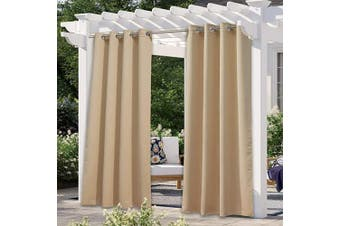 NICETOWN Patio Blinds Outdoor Waterproof Curtain, Rustproof Stainless Steel Eyelet Room Darkening Thermal Insulated Outdoor Drape Privacy for Pergola/Arbour, 1 Panel, W52 x L120, Biscotti Beige