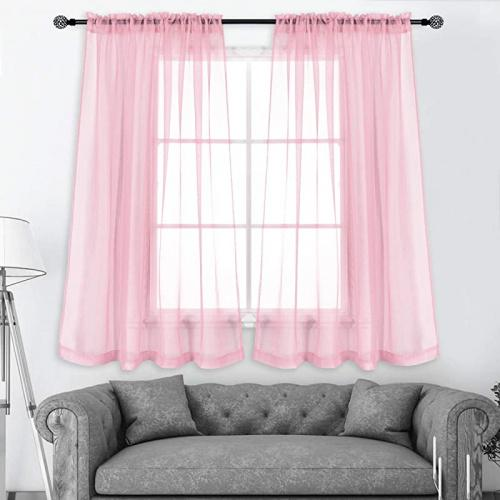 130cm X 110cm Baby Pink Keqiaosuocai 1 Pair Baby Pink Sheer Curtains 110cm Long For Girls Baby Room With Top Rod Pocket Small Window Sheer Voile Drapes For Nursery Matt Blatt