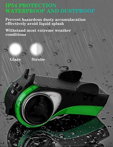 Bike Light with Waterproof Wireless Speaker Set,6 Functions Come with Bicycle Bell,Phone Holder,Speaker,Power Bank,TF Card and Flashing Light Suitable for Bicycle and Play Music On Motorcycle