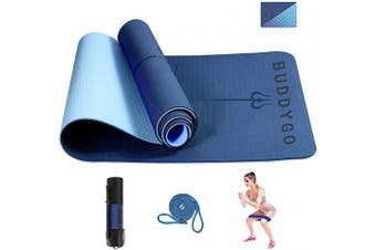 BUDDYGO Yoga Mat, Non Slip Exercise Yoga Mat, Core Balance Yoga Mat, TPE Eco Friendly Non Slip Fitness Exercise Mat With a Resistance Fitness Bands Carrier Strap and yoga bag, for Yoga, Pilates etc.