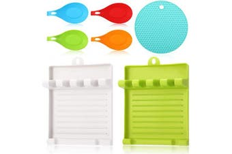 7 Pieces Utensil Holder Rest with Drip Pad Kitchen Spoon Rest Silicone Trivets Mat Multipurpose Pot Holders for Spoons Ladles Tongs Cooking Utensils