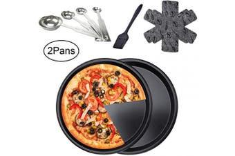 2Pcs 25cm Pizza Pans Set, Non-Stick Kitchen Baking Tray Round Cake Baking Pans Durable Aluminium Bakeware, for Restaurants and Homemade Pizza Baking(Black)