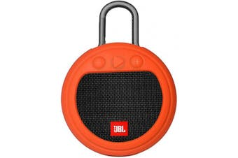 (Orange) - Zaracle Flexible Protective Case Silicone Carrying Case Cover for JBL Clip 3 Waterproof Portable Bluetooth Speaker (Orange)