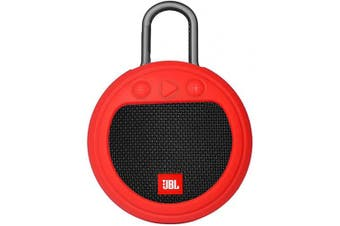 (Red) - Zaracle Flexible Protective Case Silicone Carrying Case Cover for JBL Clip 3 Waterproof Portable Bluetooth Speaker (Red)