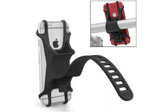 (Black) - Phone Holder for Bike, Silicone Universal Bike Phone Mount, for Motorcycle Phone Holder Mountain Bike Accessories Fits for iPhone 11 Pro Max/XR/XS Max/8/7/ 6/6s Plus, Galaxy S20/S9, 10cm - 17cm Phones