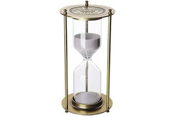(L 60 Minutes, A3 L Antique golden 60 minutes) - Metal Hourglass 60 Minutes,KSMA 1917 Vintage One Hour Glass Timer with Sand for Gift