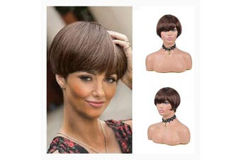 (4#) - Short Pixie Cut Straight Hair Wig Brazilian unprocessed Human Hair Wigs For Black Women Mix Colour Machine Made cheap Human hair BOB Wigs . 4#)