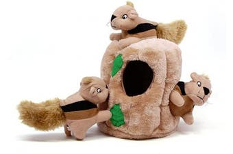 (Large, Squirrel) - Outward Hound Hide-A-Squirrel Squeaky Puzzle Plush Dog Toy - Hide and Seek Activity for Dogs